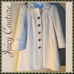 Juicy Couture Cream white wool Ruffle peacoat